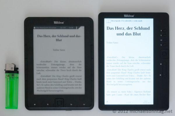 links: TrekStore Pyrus - rechts Weltbild eBook Reader 3.0
