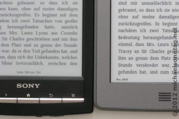 Schriftvergleich Sony PRS-T1 und Amazon Kindle