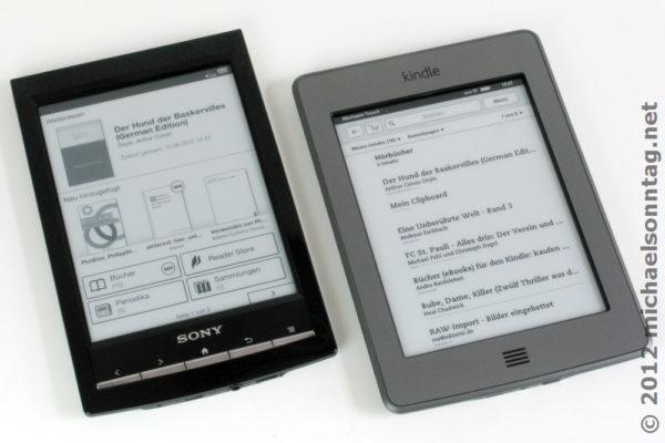 Vergleich der Startmenüs zwischen Sony PRS-T1 und Amazon Kindle Touch