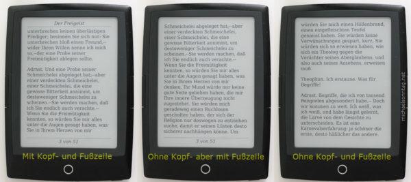 Cybook Odyssey - Kopf- und Fußzeile ausgeschaltet
