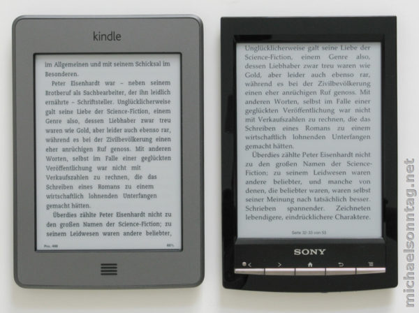 Kindle Touch vs. Sony PRS-T1