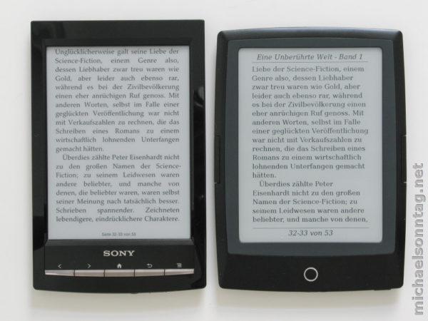 Sony PRS-T1 vs. Cybook Odyssey