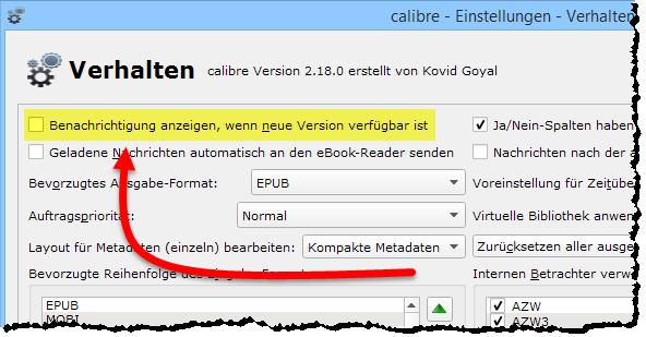 calibre-updatebenachrichtigung-abschalten