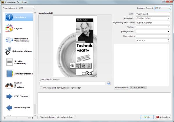 PDF mit Calibre konvertieren