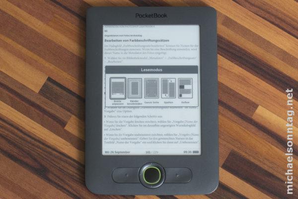 PocketBook 613 - Möglichkeiten ein PDF-Dokument darzustellen