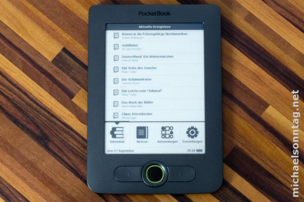 PocketBook 613 - Startbildschirm