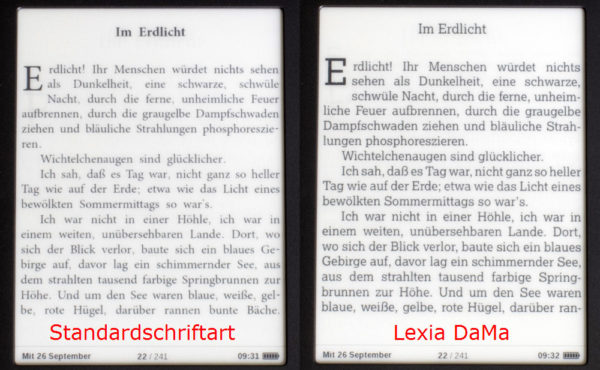 PocketBook 613 - Vergleich der Schriften