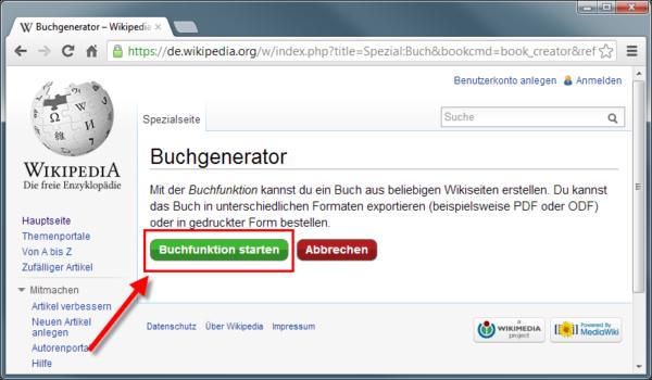 Wikipediaeintrag als eBook - Buchfunktion einschalten Schritt2