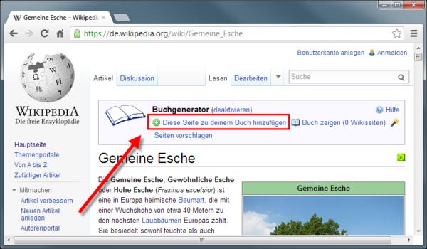 Wikipediaeintrag als eBook - aktuelle Seite zum Buch hinzufügen