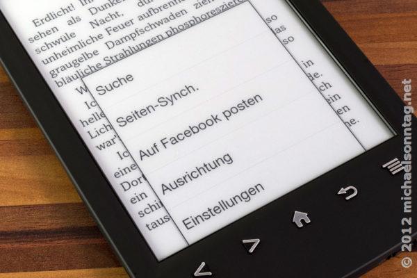 Sony PRS-T2 - Buchmenü mit Möglichkeit, das Buch auf Facebook zu posten