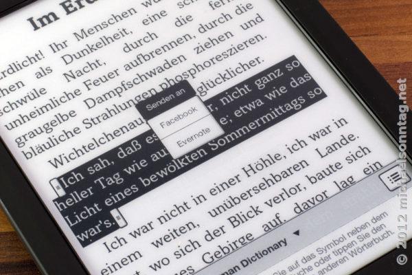 Sony PRS-T2 - Text auswählen und an Evernote senden