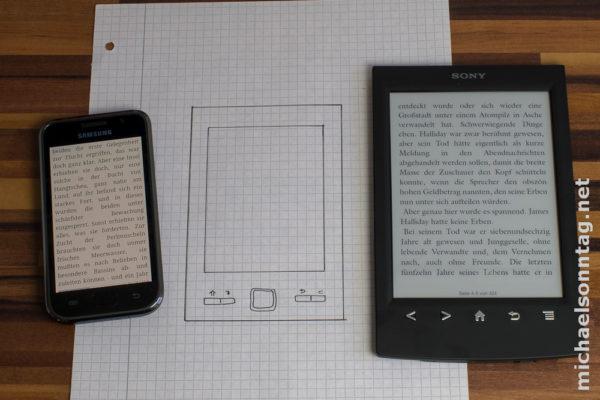 Vergleich Samsung Galaxy S mit Abmessungen Trekstor Pyrus Mini und Sony PRS-T2