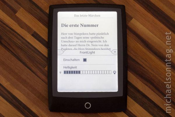 Cybook Odyssey HD Frontlight - Beleuchtung einschalten