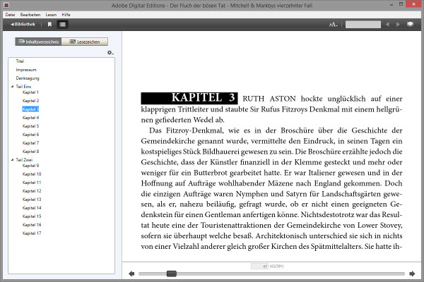 Lesemodus von Adobe Digital Editions