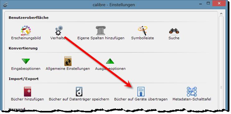 eBooks sortieren - Calibre - Ausgabeoptionen einstellen