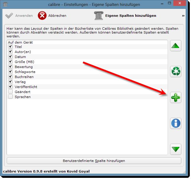 eBooks sortieren - Calibre - Neue benutzerdefinierte Spalte hinzufügen