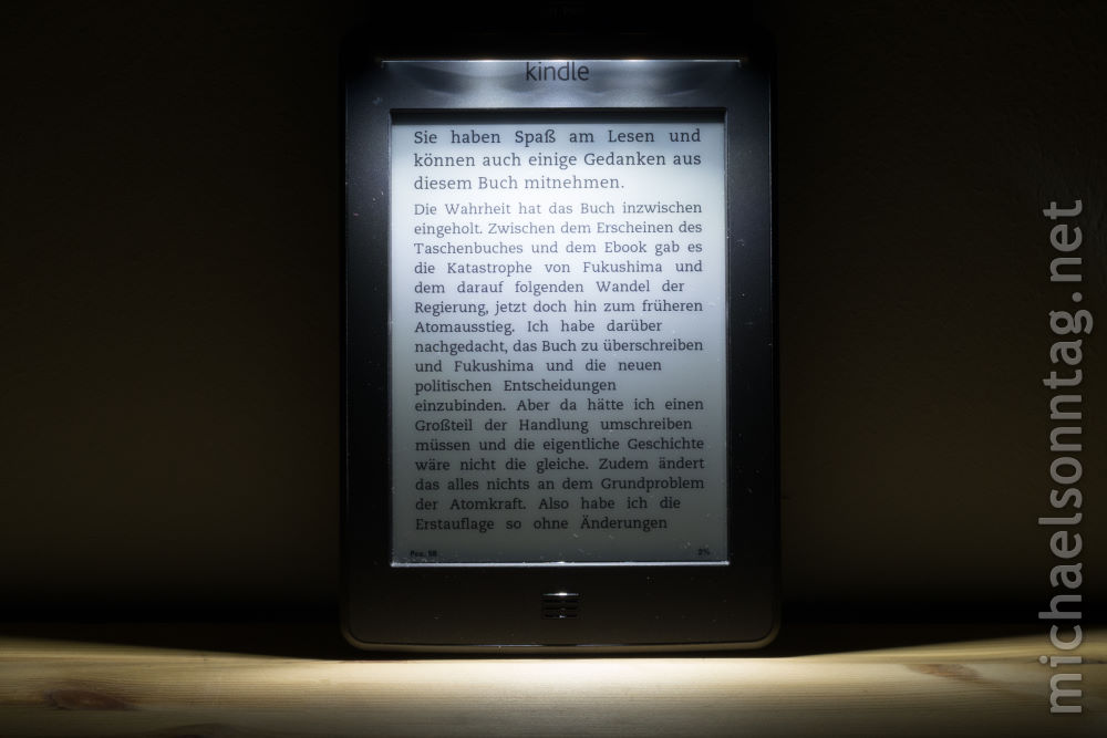iLumaLight - Ausleuchtung an Kindle Touch