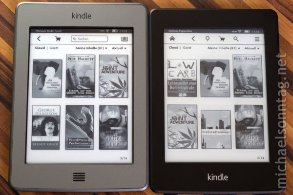 Kindle Paperwhite vs. Kindle Touch - Coveransicht