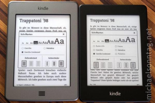 Kindle Paperwhite vs. Kindle Touch - Schriftgrößenvergleich