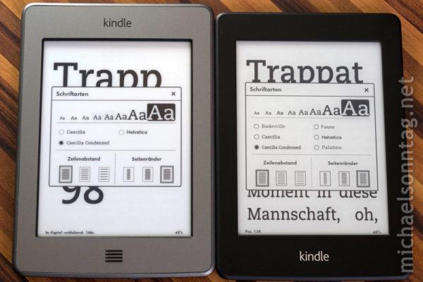 Kindle Paperwhite vs. Kindle Touch - Schriftgrößenvergleich (maximal)