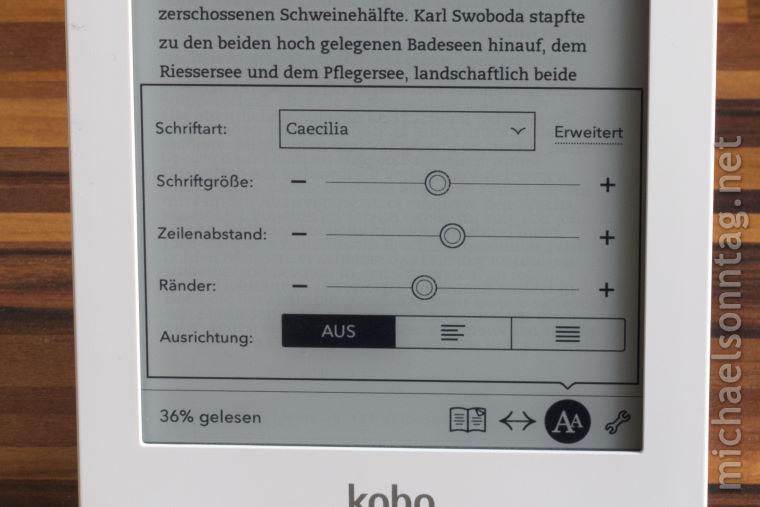 Kobo Glo - Leseeinstellungen