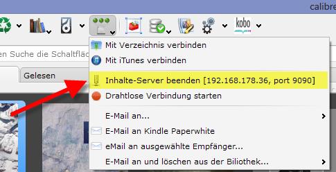 Calibre_Inhalte-Server_gestartetet