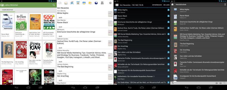 OPDS-Ansichten: Aldiko Premium, Cool Reader, FB Reader, Moon+Reader Pro (v.l.n.r)