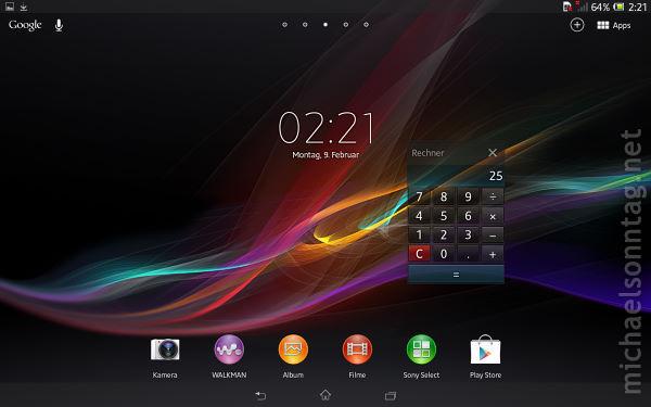 Sony-Xperia-Tablet-Z_Startseite-mit-Miniapp-Rechner