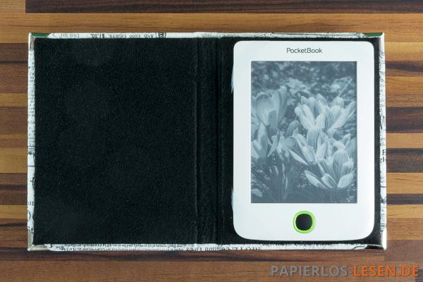 PocketBook Mini in der Mosushülle - die Silikonbänder sind so gut wie unsichtbar