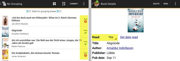 Anzeige, ob ein Buch bereits gelesen wurde (links: Listenansicht - rechts: Buchdetails)