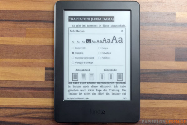 Amazon Kindle (7. Generation) - Leseeinstellungen