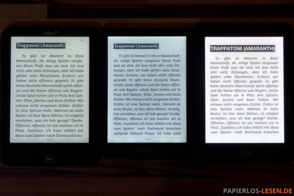 Displayvergleich: Tolino Vision 2, PocketBook Sense, Kindle Voyage (v.l.n.r.)