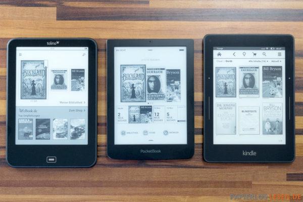 Fronten: Tolino Vision 2, PocketBook Sense, Kindle Voyage (v.l.n.r.)