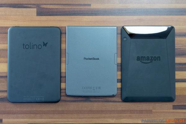 Rückseiten: Tolino Vision 2, PocketBook Sense, Kindle Voyage (v.l.n.r.)