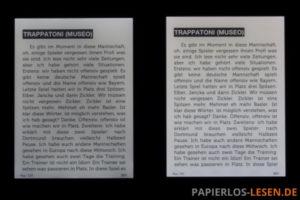 Vergleich der Ausleuchtung bei maximaler Helligkeit (links: Kindle Paperwhite; rechts Kindle Voyage)