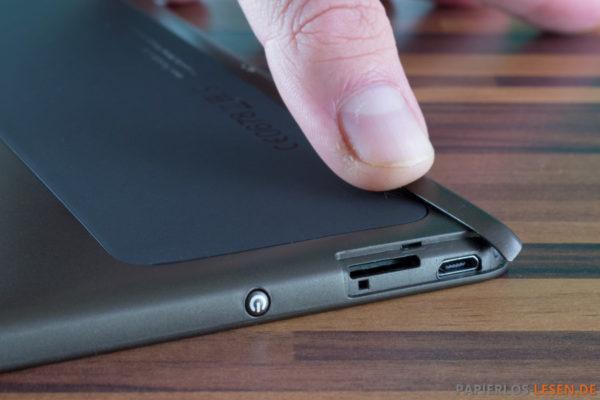 Einschalter, Micros-Sd_Schacht und Micro-USB-Asnchluss auf der Oberseite