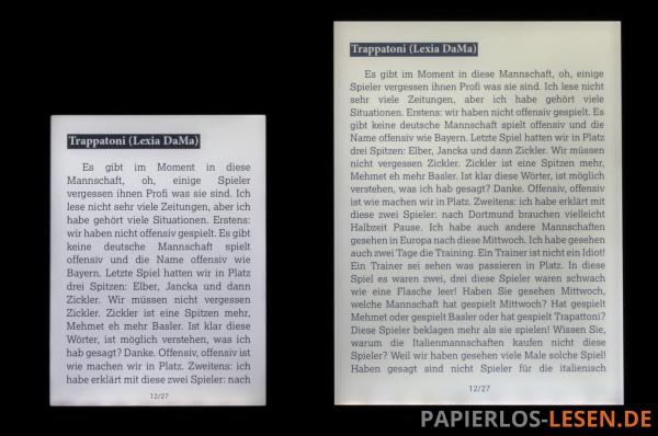 Textmenge bei annähernd gleicher Schriftgröße auf Touch Lux 2 (links) und InkPad (rechts)