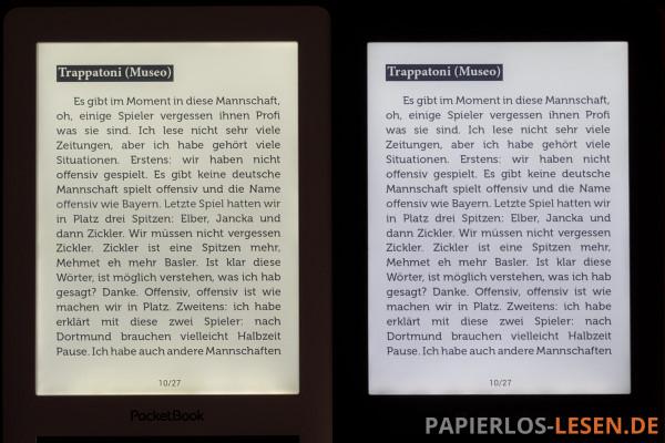 Vergleich der Beleuchtung: links Touch Lux 2 vom letzten Jahr - rechts: PocketBook M