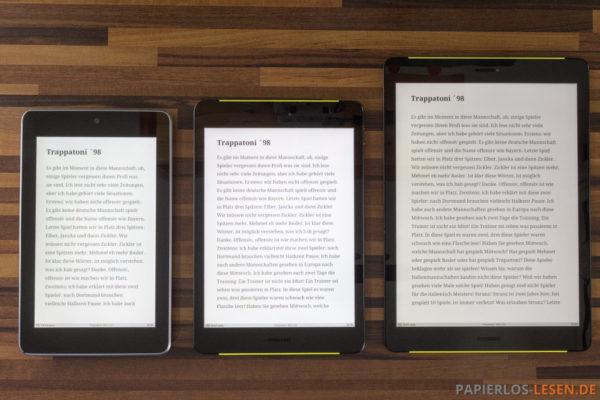 Formal- und Größenvergleich links: Nexus 7 (16:10) - mitte: Surfpad 4 M (4:3) - rechts: Surfpad 4 L (4:3)