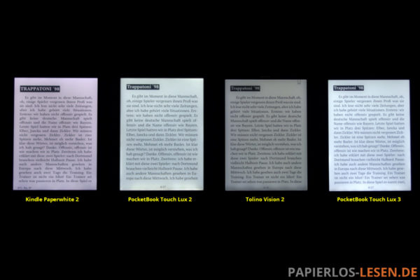 Beleuchtungvergleich (v.l.n.r.): Kindle Paperwhite 2 vs. PocketBook Touch Lux 2 vs. Tolino Vision 2 vs. PocketBook Touch Lux 3