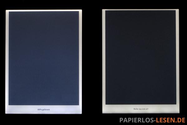 Vergleich der Beleuchtung zwischen Kobo Glo (links) und Kobo Glo HD (rechts) bei maximaler Helligkeit