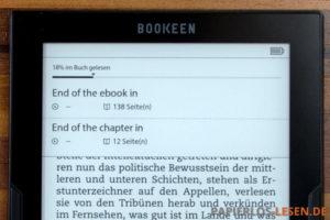 Bookeen Beta: Lesefortschritt