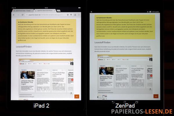 maximale Helligkeit bei iPad 2 (links) und Zenpad (rechts)