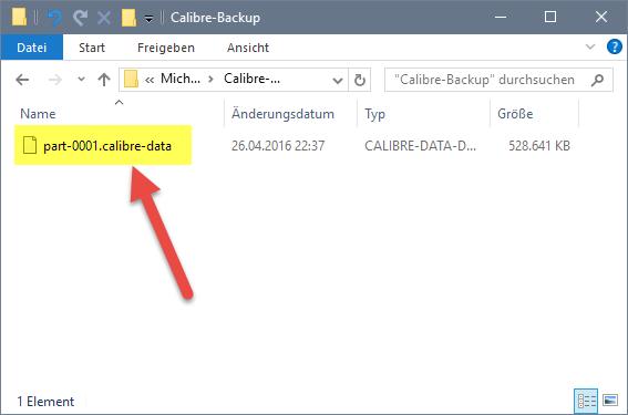 Exportierte Datenbank im Explorer