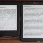 Vergleich unbeleuchtet und Bookerly (links: Kindle Paperwhite - rechts Icarus Ilumina XL)