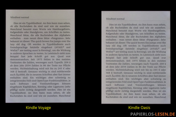 Beleuchtete Bildschirme (mittlerw Helligkeit) Kindle Voyage (links) und Kindle Oasis (rechts)