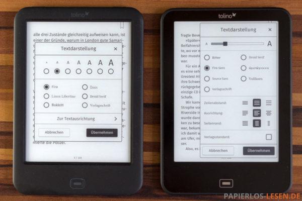 Textdarstellung alt (links) und neu in Version 1.8 (rechts)