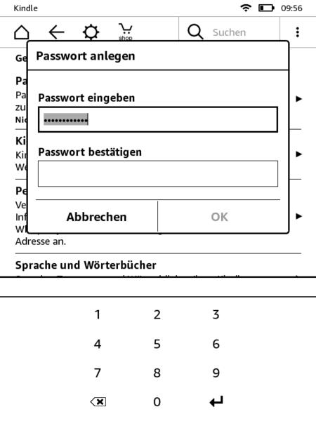 Passwort festlegen auf dem Kindle
