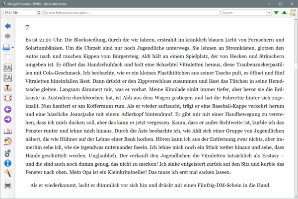 Einspalitige Textdarstellung im Calibre-Viewer