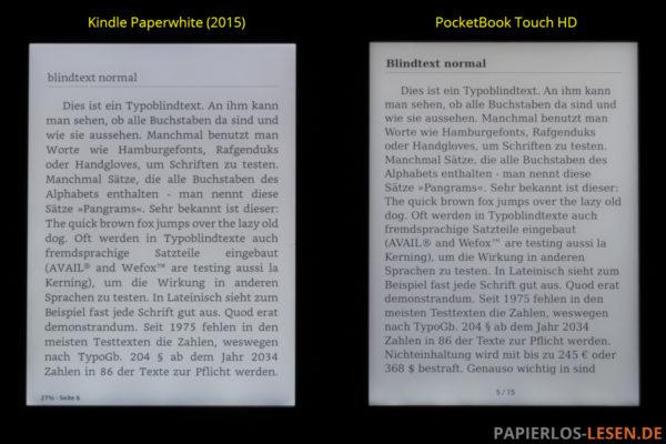Displayvergleich bei maximaler Helligkeit: Kindle Paperwhite und PocketBook Touch HD